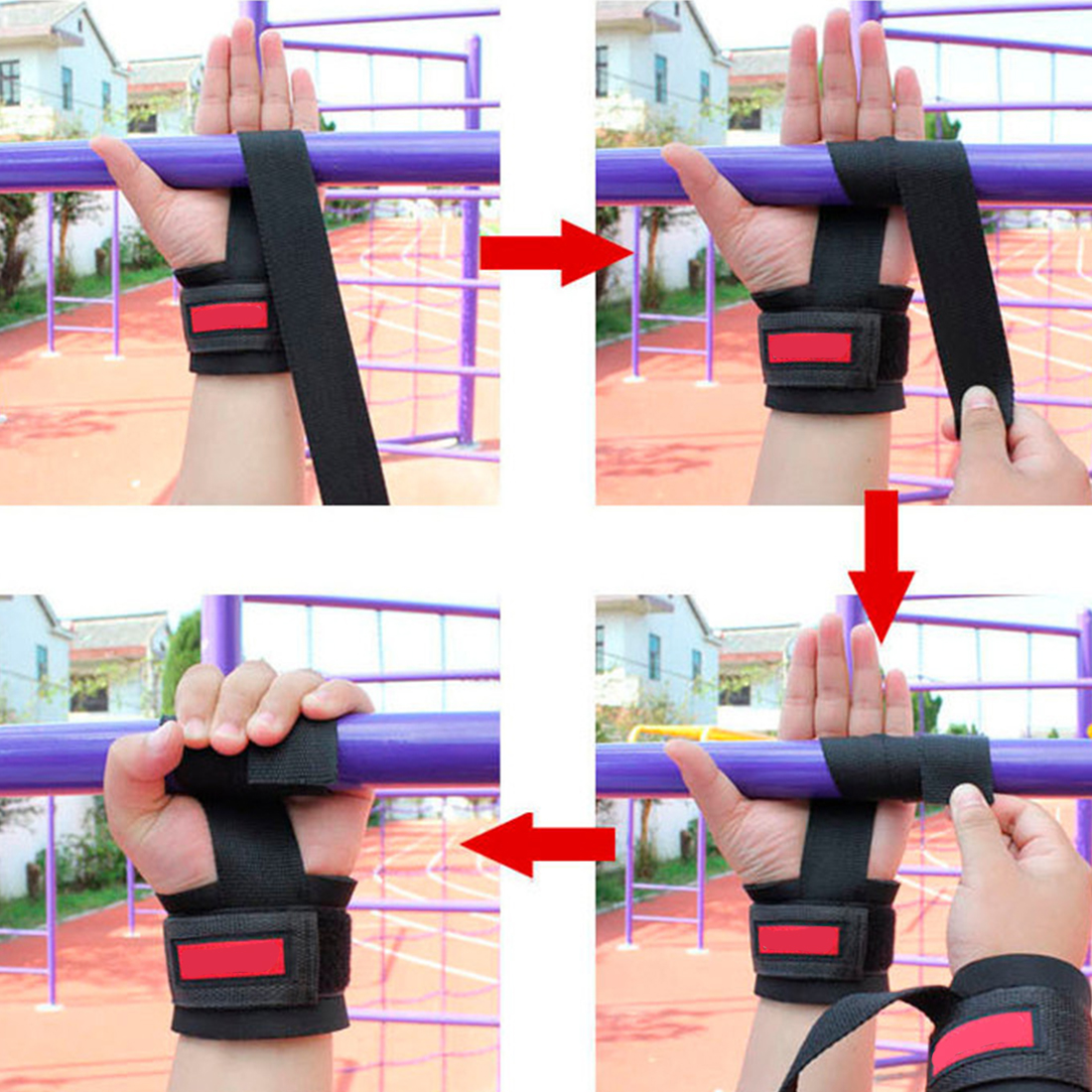 2pcs anti slip thicken gym training crossfit weight lifting gloves