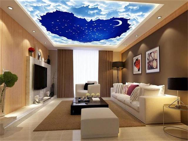 Custom Size 3d Wallpaper Ceiling Room Mural Photo Heart Shaped Cloud Star  Moon Sky Painting Wall Part 50