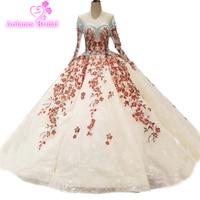 Colors Long Sleeves Wedding Dress 100% Real Original Pictures Muslim Custom Made Bridal Wedding Dresses Key Hole Back Big Skirt