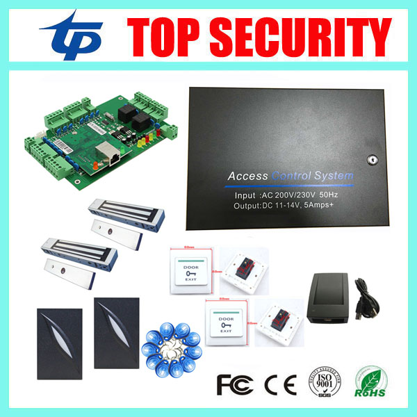 L02 access control panel with power supply protect box and 2pcs weigand card reader and exit button 600LBS EM lock RFID key rfid em card reader ip68 waterproof metal standalone door lock access control system with eletric lock power supply exit button