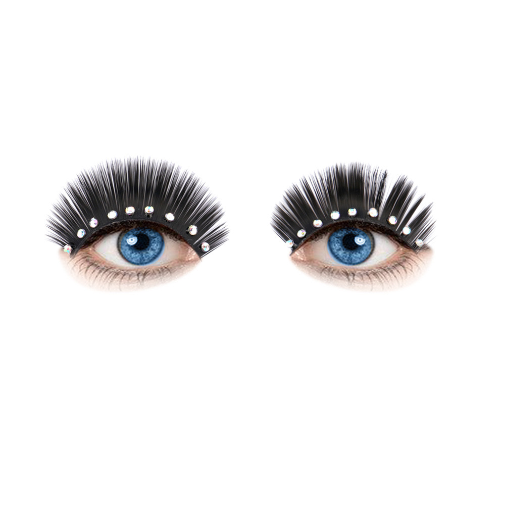 2017 A# makeup Hot eyelashes Fashion Women Soft Simulation Rhinestones Stage Fake Eyelashes G