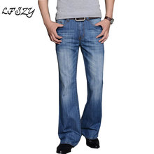 2019 Mens Modis Big Flared Jeans Boot Cut Leg Flared Loose Fit high Waist Male Designer Classic Denim Jeans Pants Biker jeans 2016 mens jeans boot cut leg slightly flared slim fit nostalgic blue male jeans designer classic denim jeans