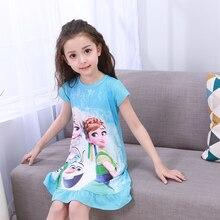 Новинка 2018 детская одежда летнее платье для девочек Хлопковая пижама принцессы пижамы дети милые пижамы для девочек