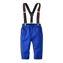 New Spring Cotton Jumpsuit Woven Trousers Strap+pants 2PCS Suit Pure Blue Overalls Baby Boys Causal Outfit Clothes 3-8T