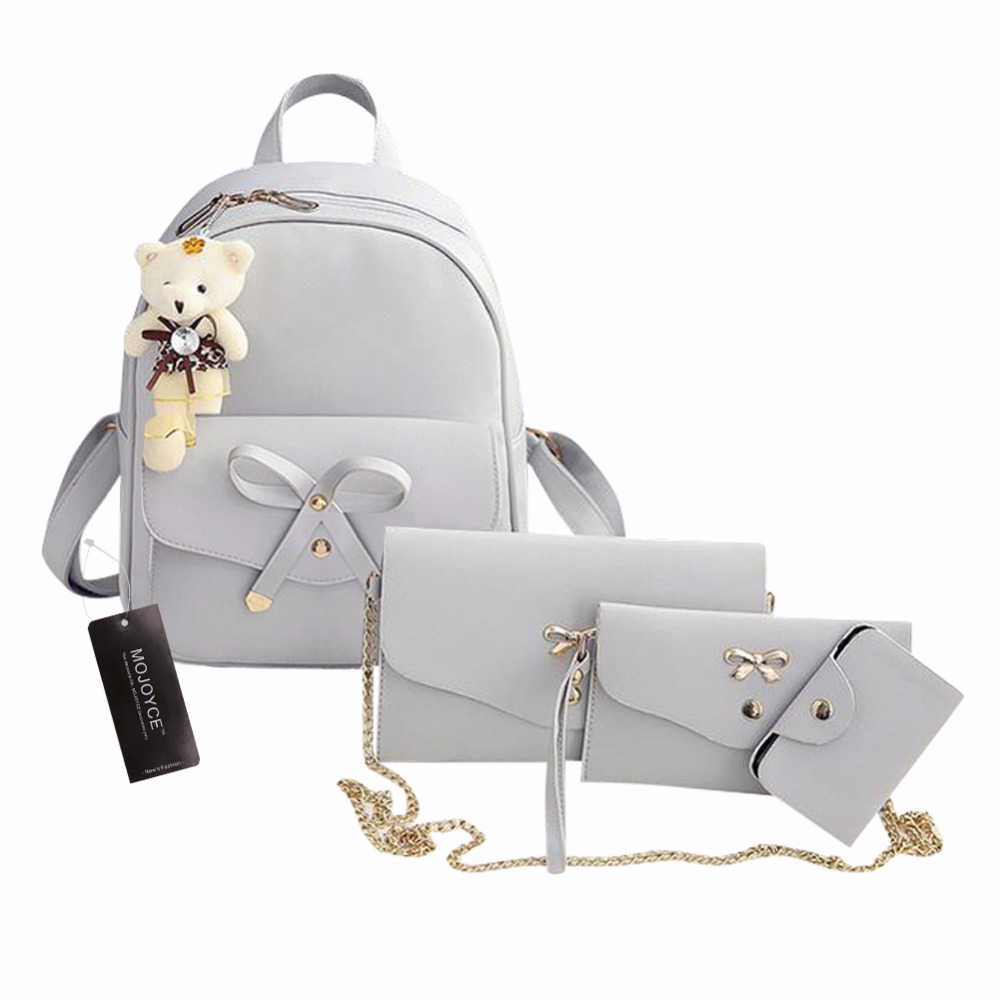 4Pcs/Set PU Leather Women Backpack Cute Bow School Bags For Teenage Girls Backpacks Fashion Chains Shoulder Bag Purse Sac A Dos 4pcs set women fashion backpack pu leather teenage school bag casual clutch crossbody travel bags for girls with purse and bear