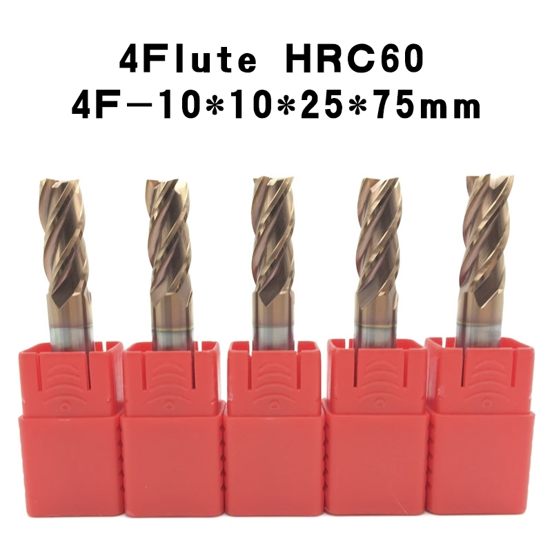 4F D10 75L hrc60 End Mill carbide lathe cutting tool cnc tungsten Flatted 4 Flute Cutting diameter 10mm HSS Milling Cutter 5Pcs  bt30 er16 60 tool holder for cnc router spindle motor and milling lathe tool boring end mill