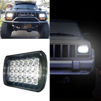 2 Pcs 5x7 LED Square Headlights With Daytime Running Light For Jeep XJ Cherokee MJ Comanche