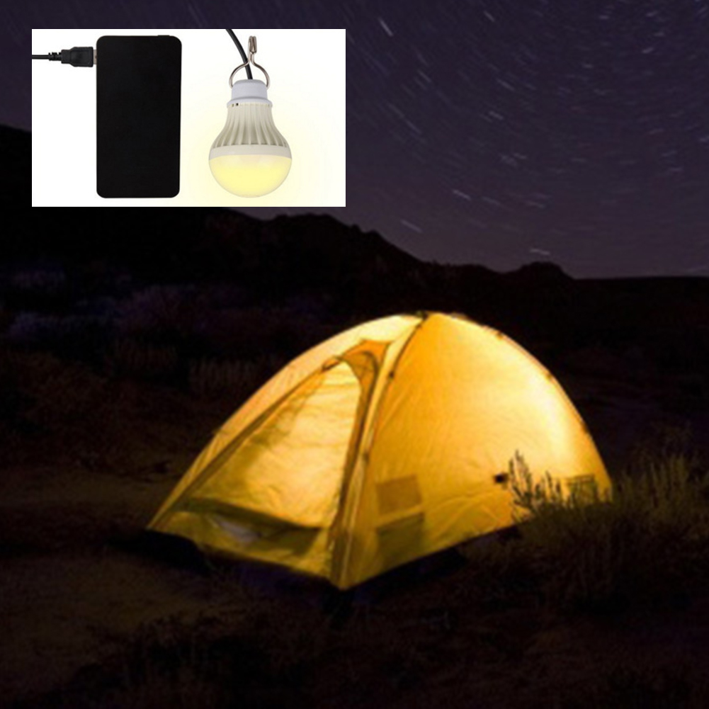 New 5W 5V USB Powered LED Night Light Bulb 300 Lumens Outdoor Portable Hanging Tent Light Camping Lamp for Mobile Phone Light
