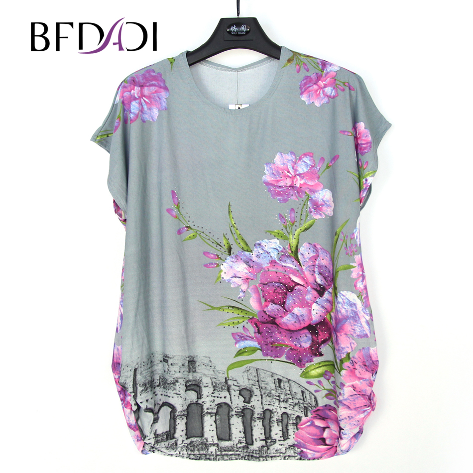 Bfdadi 2017 new summer flowers women casual t shirt round for Made to measure casual shirts