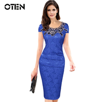 Womens Embroidery Elegant Vintage Dobby Fabric Hollow Out Embroidered Ruched Pencil Bodycon Evening Party Dress