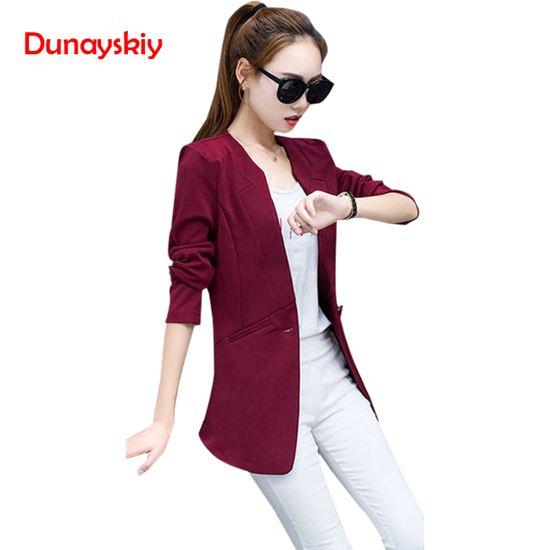 Dunayskiy Plus Size Fit Slim Long Women Blazers OL Long Sleeve Lady Work Wears Single Button Blazer Female Jacket Fashion Coats