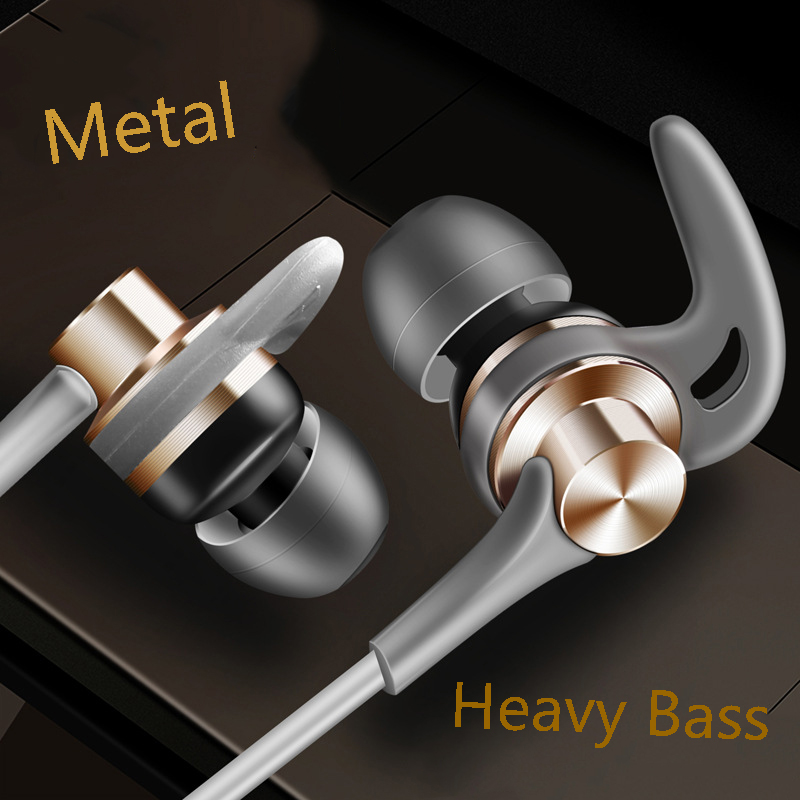 CHICLITS In-ear Earphones New 3.5mm J02 Shark Fins Metal Subwoofer Sports Music Earplugs With Microphone For Samsung Xiaomi