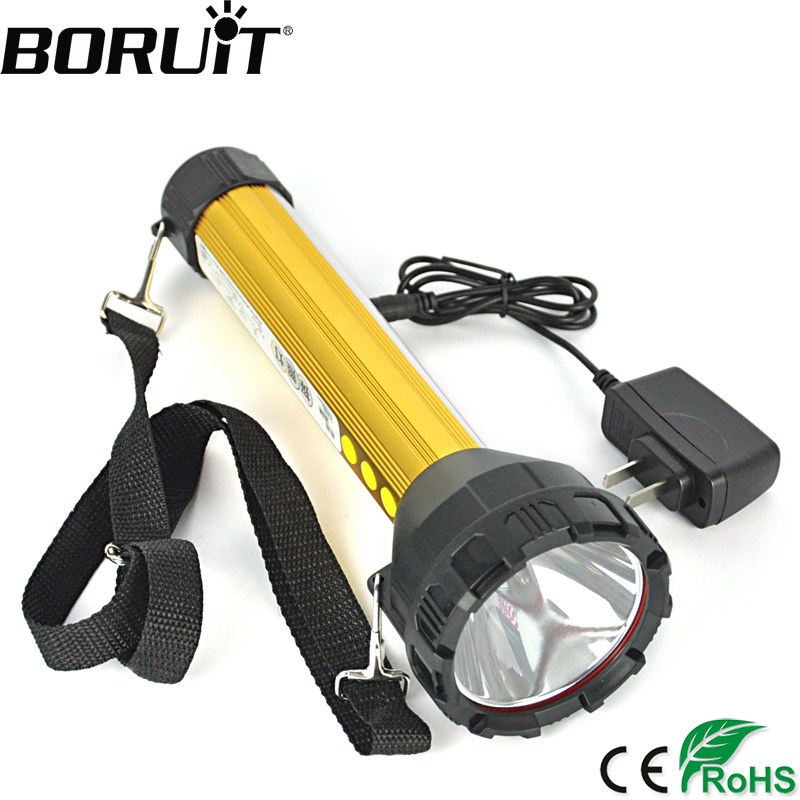Boruit 2000LM 15 LED Rechargeable Flashlight Torch Hunting Fishing Flash Light Flood Lamp Built in 18650 Battery with AC Charger lomom 10w 2 colors professional cree led fishing built in li ion battery for fishing hunting equipment tripod uv flashlight