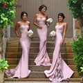 Spaghetti Straps Lace Satin Bridesmaid Dresses Skirt Train Appliques Blush Pink Mermaid Formal Party Prom Gown Dresses Bodycon