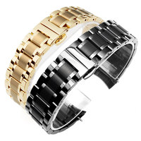Männlich weiblich armband edelstahl band butterfly verschluss uhr zubehör goldenen 14 16 18 bis 22mm schwarz curved schnittstellen