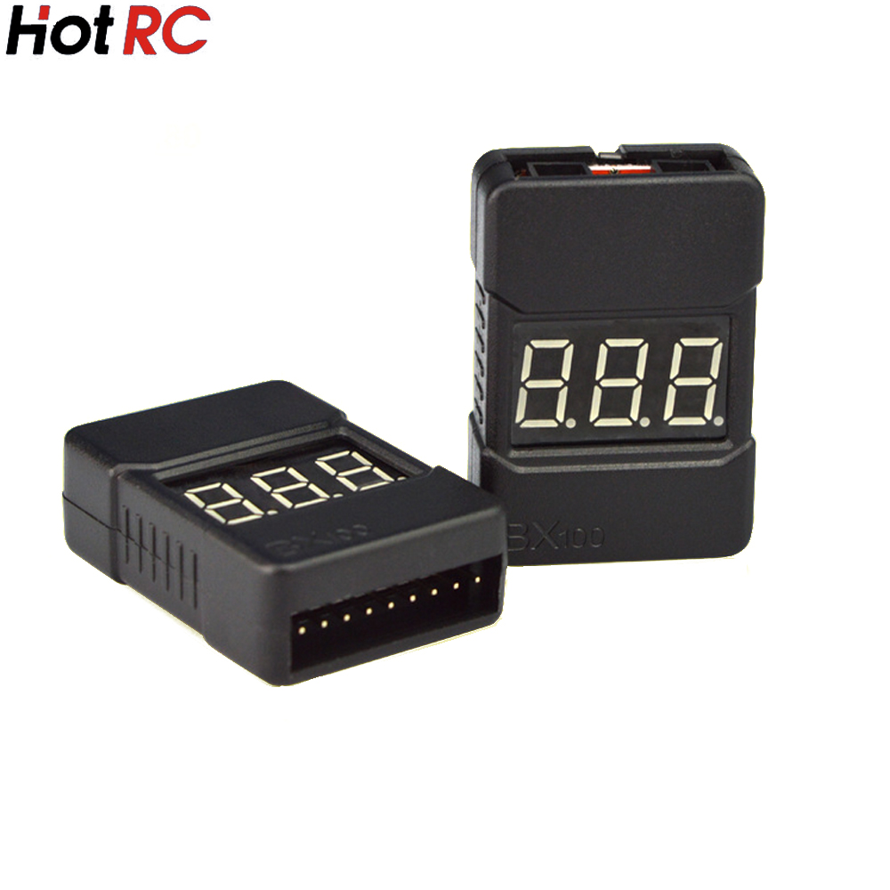 5pcs HotRc BX100 1-8S Lipo Battery Voltage Tester/ Low Voltage Buzzer Alarm/ Battery Voltage Checker with Dual Speakers rc model 2s 3s 4s detect lipo battery low voltage alarm buzzer