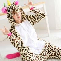 Leopard Unicorn Pajamas Onesies Adult Women Men Winter Warm Flannel Animal Pony Halloween Xmas Party Cosplay