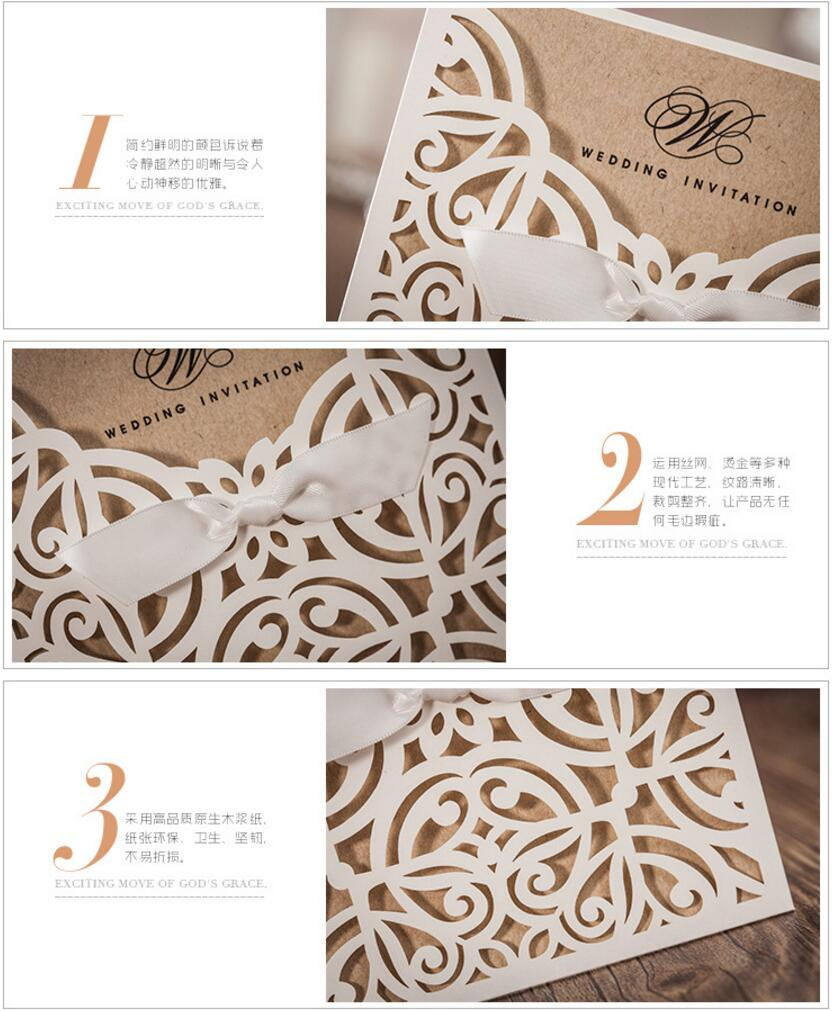 Rustic Laser Cut Lace Pocket wedding invitations card, Birthday ...