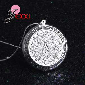 Elegant 925 Sterling Silver Chain Round Locket Pendant Necklace Photo Collar Necklaces Valentine's Day Gift Retro Style