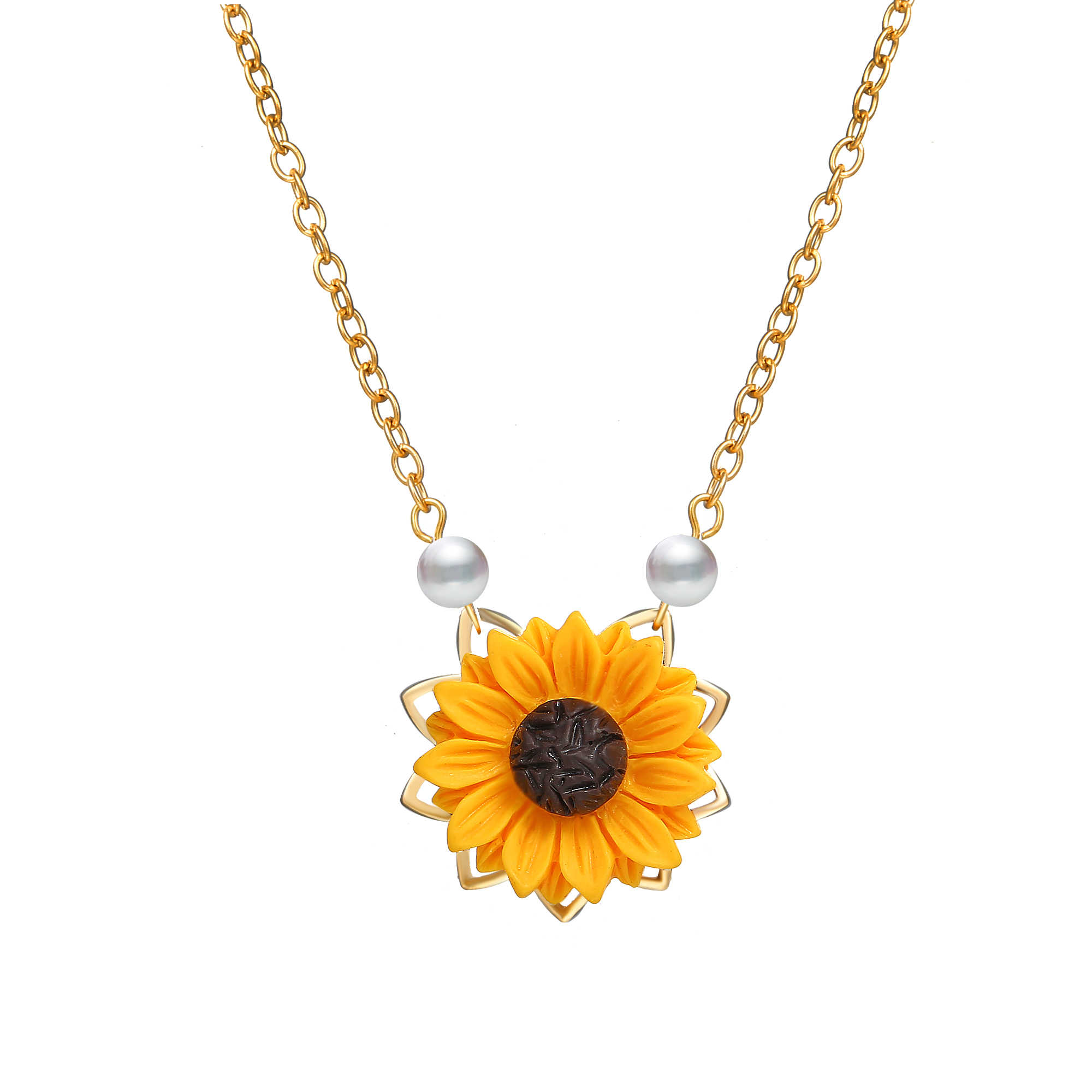 Poputton Imitation Pearl Sunflower Necklace For Women Clothes Accessories 3 Colors Sun Flower Pendant Necklaces Wedding Jewelry