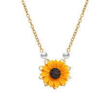 Poputton Imitation Pearl Sunflower Necklace For Women Clothes Accessories 3 Colors Sun Flower Pendant Necklaces Wedding Jewelry poputton imitation pearl sunflower necklace for women clothes accessories 3 colors sun flower pendant necklaces wedding jewelry