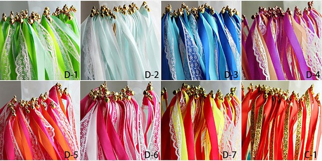 50Pieces CustomizedOutdoor Wedding Lace Ribbon Stick + Bell Decoration Garland Party Favors Wedding Ribbon Wands Free Shipping