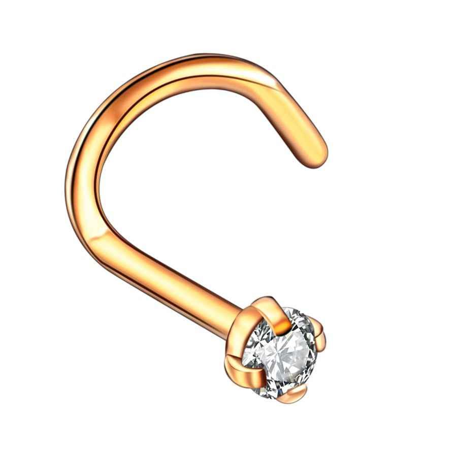 1 ピース鋼クリスタル宝石 L 字型の鼻スタッドピアスローズゴールド鼻の骨ネジ Nazir ピアス鼻孔イヤリングピアスジュエリー 20 グラム
