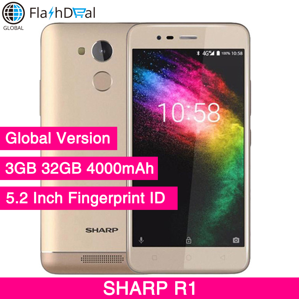SHARP R1 MT6737 Quad Core Smartphone 5.2 Inch 1280x720P 16:9 ratio 13MP + 8MP 4000mAh Fingerprint 4G LTE Mobile Phone