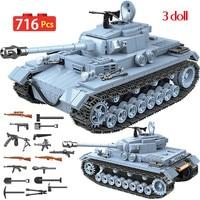 Military German Technik Tank Building Blocks Compatible WW2 Army City Soldier Police Weapon Bricks Sets Toys Boys