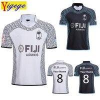 Индивидуальные имена и номера лучшее качество 2019 Фиджи и чужом поле, майка для регби из джерсовой ткани детский комбинезон регби рубашка Фи...