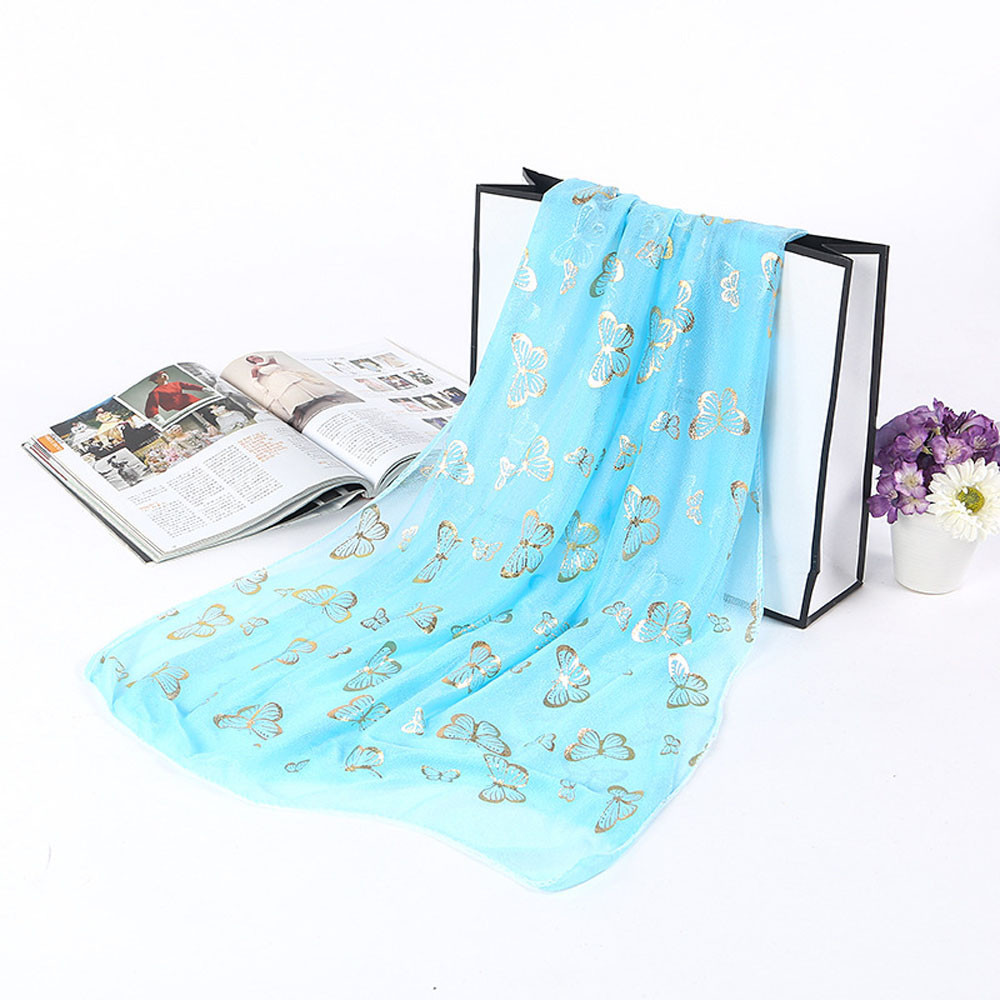 Women's Scarf Blue Hot Stamping Scarf Lady Butterfly Scarf Soft Wrap Shawl Long Fall Cape foulard femme soie de marque luxe #30(China)