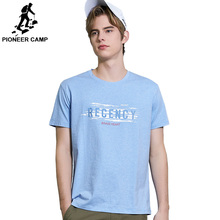 Pioneer Camp Printed Letter Short T shirt Men High Quality Cotton Male t-shirt Print Men light blue Tee Shirts ADT908079 недорого