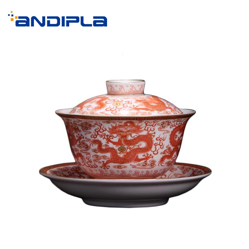 200ml Jingdezhen Gaiwan Hand Painted Dragon Pattern Ceramic Porcelain Tea Bowl with Lid Saucer Tea Ceremony Art Decor Collection