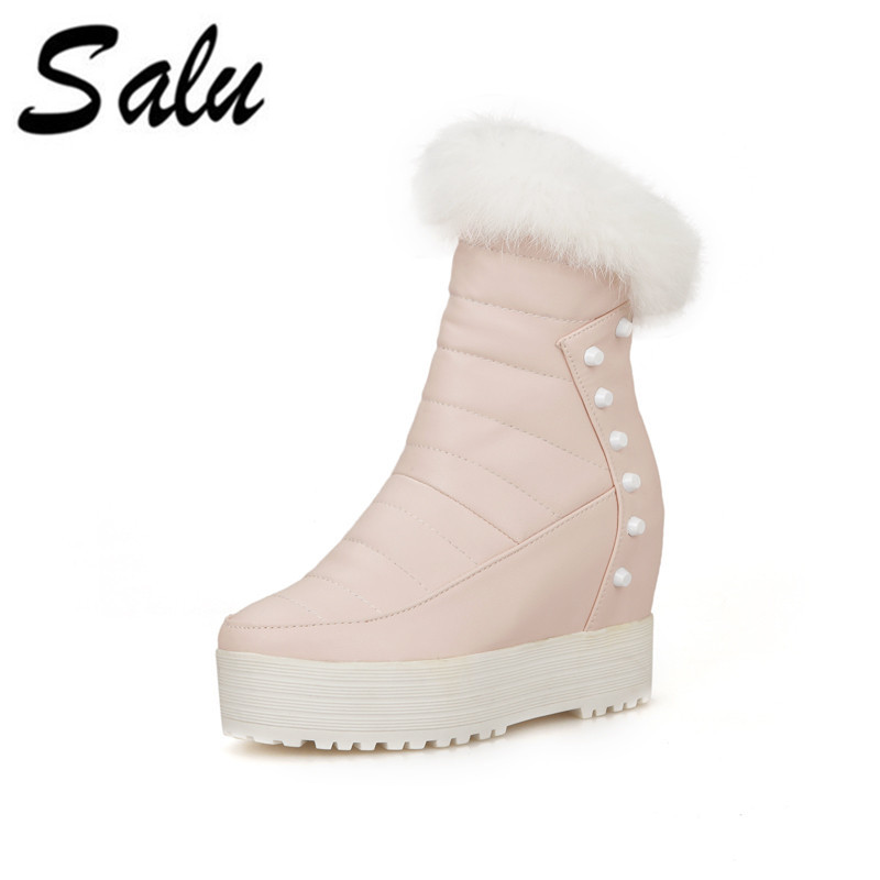 Salu 2018 new Snow Boots Platform Women Winter Shoes Waterproof Mid Calf Boots Half Short Fur Boots kened Fur Botas Size 8 platform bowkont flocking snow boots page 8