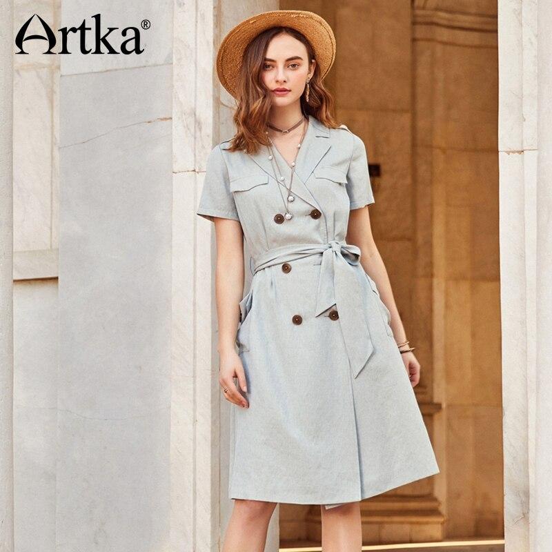 ARTKA Spring 2018 New Women Solid Double-breasted Belt Dress Windbreaker Female Short Sleeve V-neck   Trench   LA10287C