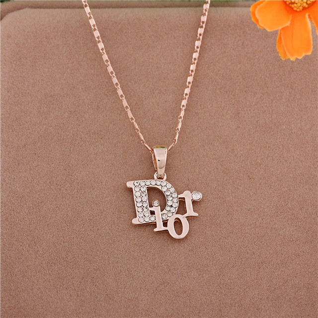 boutique fashion jewelry necklace collarbone chain letters d color