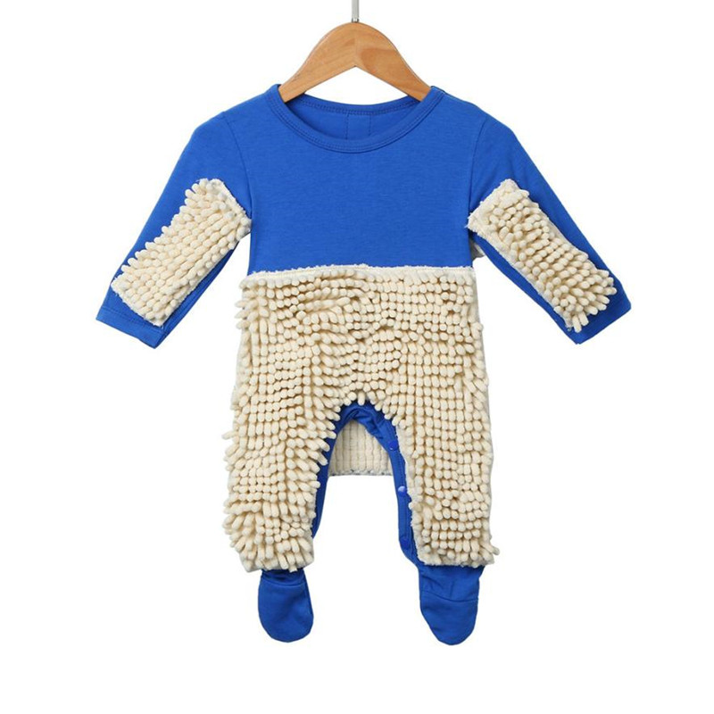 2017 New Baby Mop   Romper   Outfit Unisex Bebe Boy Girl Polishes Floors Cleaning Mop Suit Baby Crawls Toddler Swob Jumpsuit