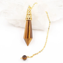 FYJS Unique Light Yellow Gold Color Hexagon Prism Section Natural Tiger Eye Stone Pendant for Men Jewelry