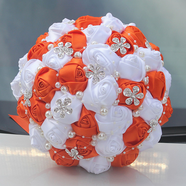 Popular orange white wedding bouquet handmade durable holding popular orange white wedding bouquet handmade durable holding flowers silk rose diamond pearl artificial flower bouquets mightylinksfo