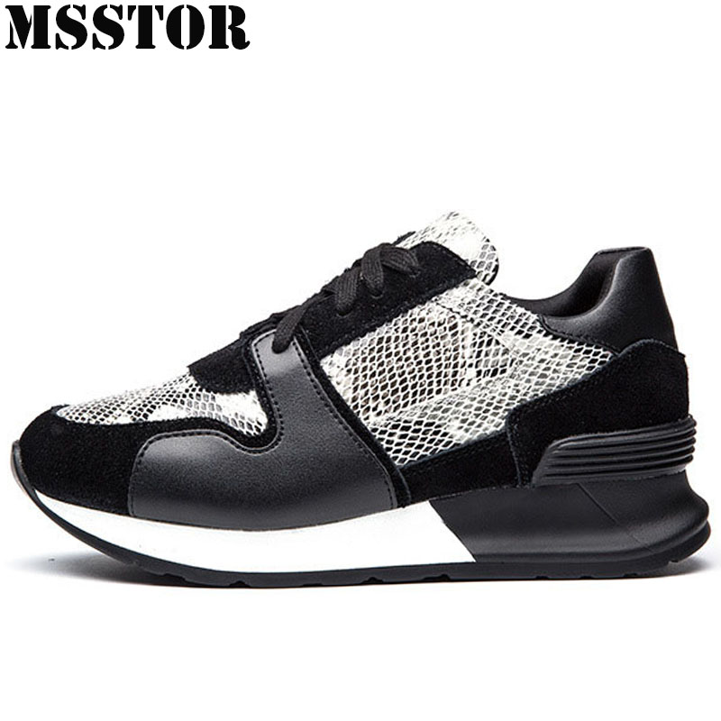 MSSTOR 2018 Women Running Shoes Genuine Leather Sports Run Woman Brand Outdoor Athletic Womens Sneakers Sport Shoes For Women msstor women running shoes summer breathable mesh sport shoes for woman brand outdoor athletic sports run womens sneakers 35 40