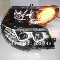 For Skoda Superb LED U Style Angel Eyes Headlight with Bi Xenon Projector Lens 2009 2013 year LD
