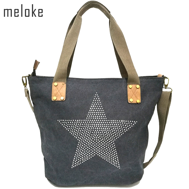 Meloke 2019 ალმასის ტყავის ვარსკვლავით დაბეჭდილი CANVAS HANDBAG-Plus ზომა მრავალფუნქციური მოგზაურობა Tote Shoulder Bag რთველი ბოლსო
