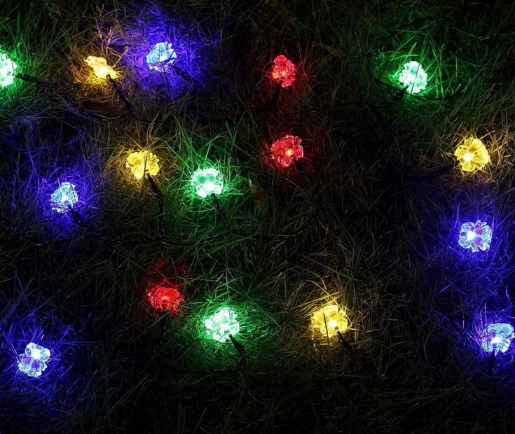 2pcs Solar Power LED Bell Bells Lamp Light multicolour String Strap For Garland Wedding  ...
