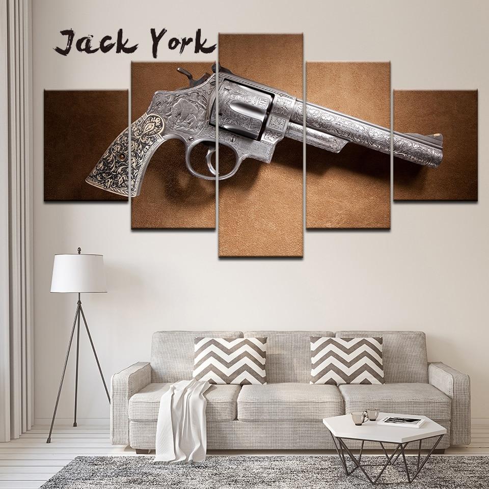 キャンバス絵画スミスとウェッソン銃 5 ピース壁の芸術の絵画