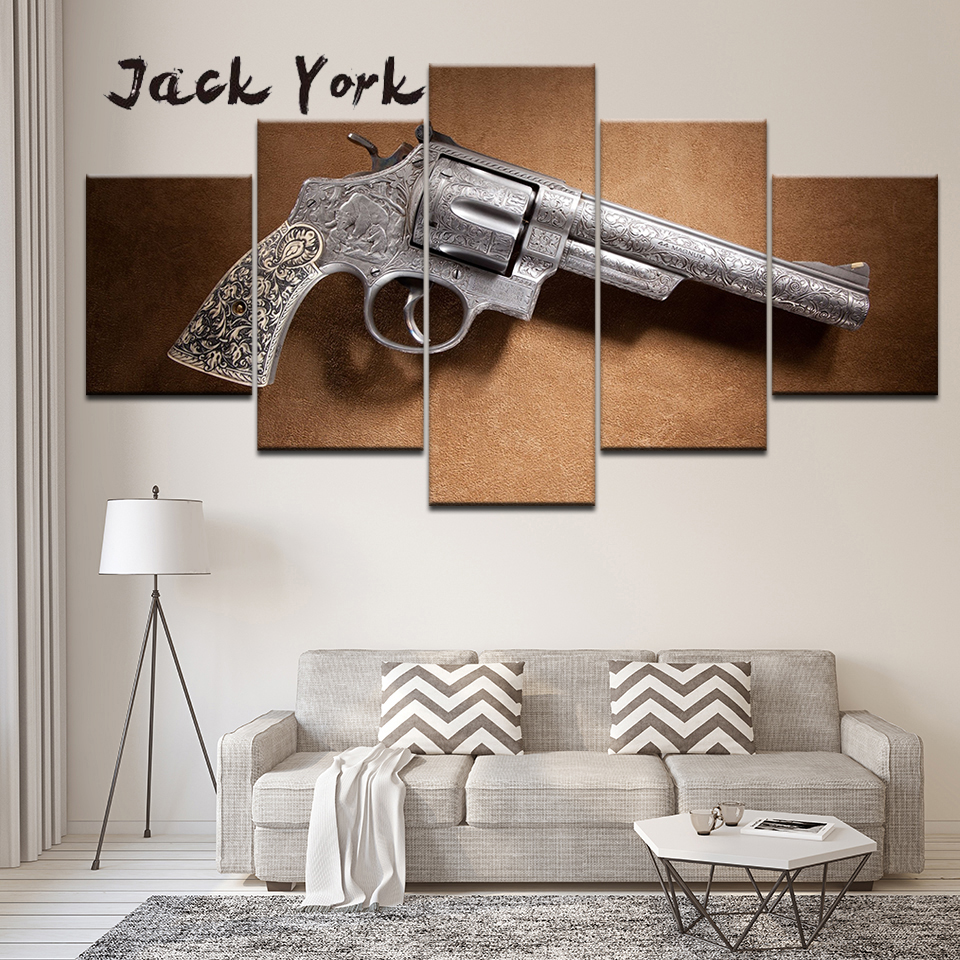 Canvas Painting smith and Wesson guns 5 Pieces Wall Art Painting Modular Wallpapers Poster Print for living room Home Decor in Painting Calligraphy from Home Garden