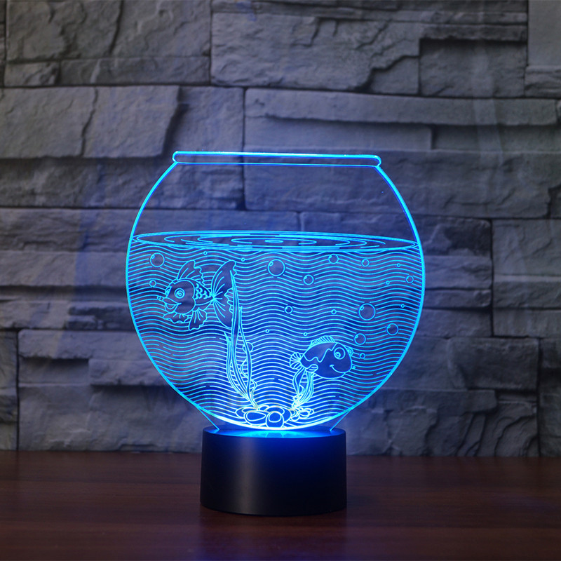 Creative Acrylic 7 Color Changing 3D Aquarium Fish Bowl