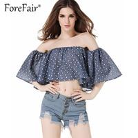 Forefair New Fashion Ruffles Crop Top Polka Dot Blusa Summer Women Slash Neck Off Shoulder Half