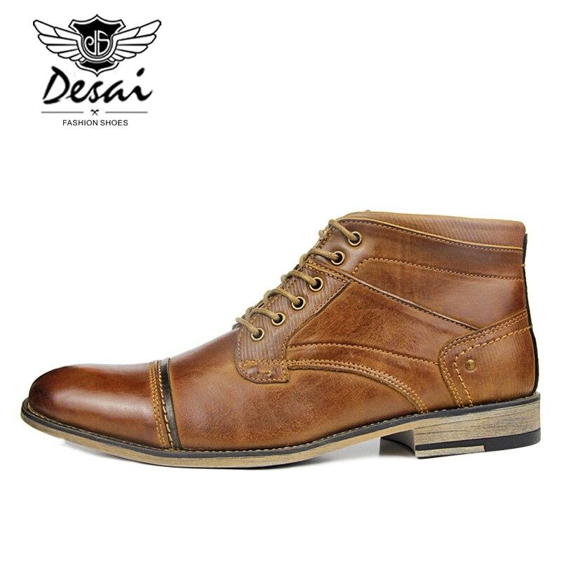 남자의 새로운 높은 부츠 정품 가죽 부츠 플러스 벨벳 비즈니스 캐주얼 높은 신발 남자 레이스 업 대형 옥스포드 신발 브라운-에서작업 & 안전 부츠부터 신발 의  그룹 3