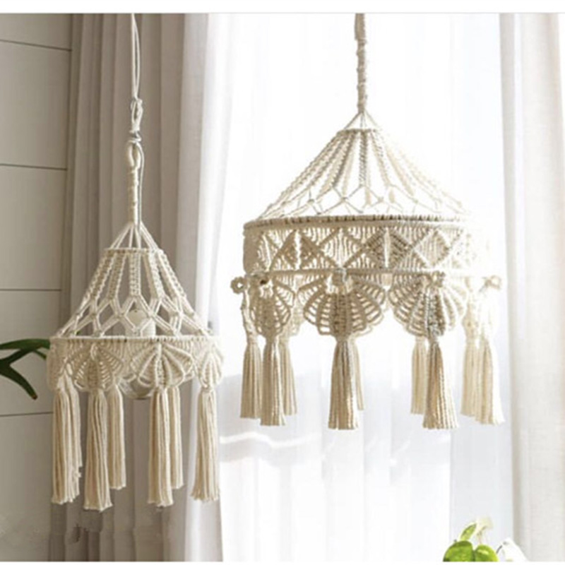 Bohemian Macrame Wall Hanging Ins Style Hand-woven Tapestry Girl Heart Bedroom Living Room Nordic Chandelier Cover DecorationBohemian Macrame Wall Hanging Ins Style Hand-woven Tapestry Girl Heart Bedroom Living Room Nordic Chandelier Cover Decoration