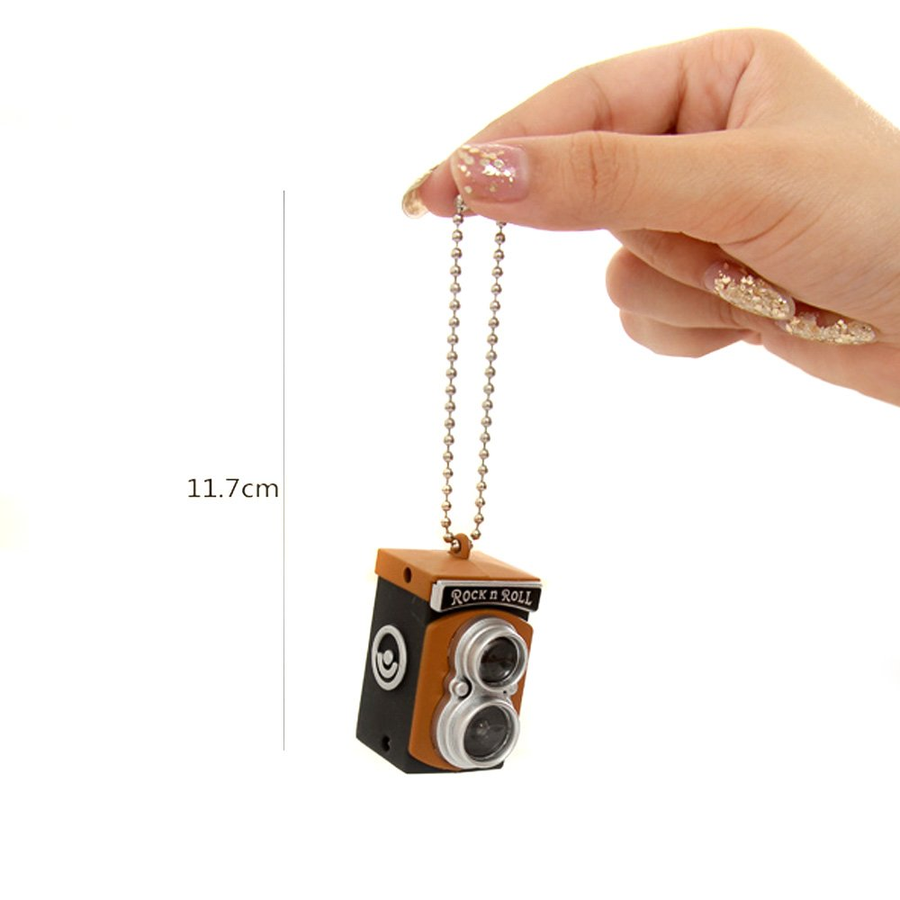 2x Cute Mini Double Twin Lens Reflex TLR Camera Style LED Flash Light Torch Shutter Sound Keychain